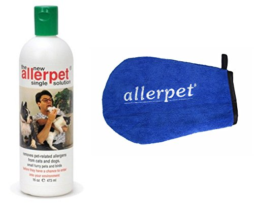 Allerpet Single Solution (Allerpet Single Solution 16 fl oz Bottle Dander Remover for Pets - Relieves Allergies - Bonus Mitt to Easily Apply Solution to Your Pet)
