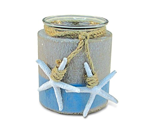 Puzzled Handcrafted Candle Holder with Two White Starfish Hanging on a Rope, Handcrafted and Handpainted Excellent Decoration for Home, Office, and School Decorations - Tea Light Holders ()