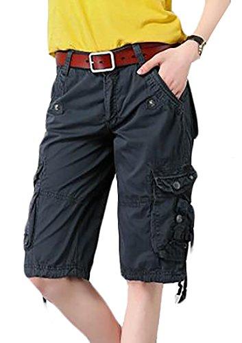 ARRIVE GUIDE Women's Multi-Pockets Soft Baggy Knee Length Cargo Shorts Dark Blue3 XX-Large