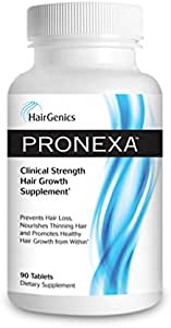 Pronexa by Hairgenics Hair Growth Supplement Prevents Hair Loss and Thinning, Nourishes Hair, and Helps Regrow Hair with Biotin and Natural DHT Blockers.