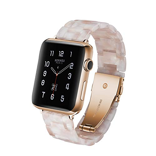 (JINRU Resin + Stainless Steel Replacement Strap for Apple Watch Series 4,3,2,1 Watch Band Women Men- Compatible 38Mm 40Mm(Powder Flower) Personality/Fashion / Leisure,40Mm)