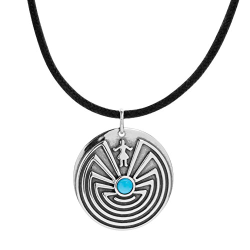 American West Sterling Silver Maze Medallion with Sleeping Beauty Turquoise - Earth Spirit - Silver Squash Necklace Blossom Sterling