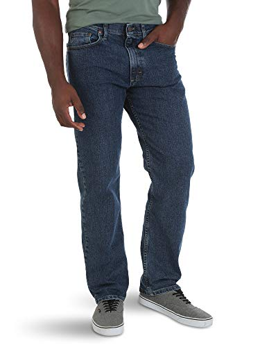 Wrangler Authentics Men's Comfort Flex Waist Relaxed Fit Jean, Dark Stonewash, 40x29
