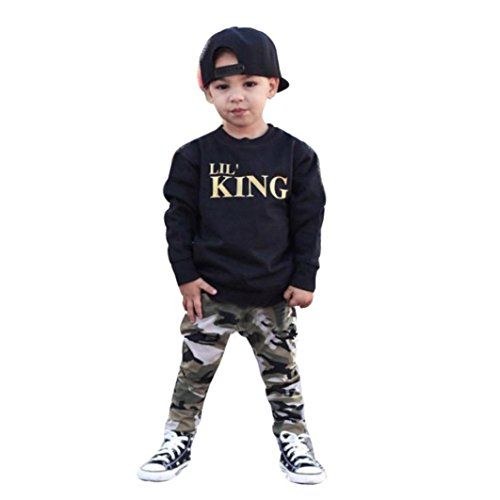 9a04a8ee3c4a Voberry Autumn Winter Clothes, Toddler Kids Baby Boy Letter T Shirt  Tops+Camouflage Pants Outfits Clothes Set Suit for 1-7 Years Old Kids - Buy  Online in ...