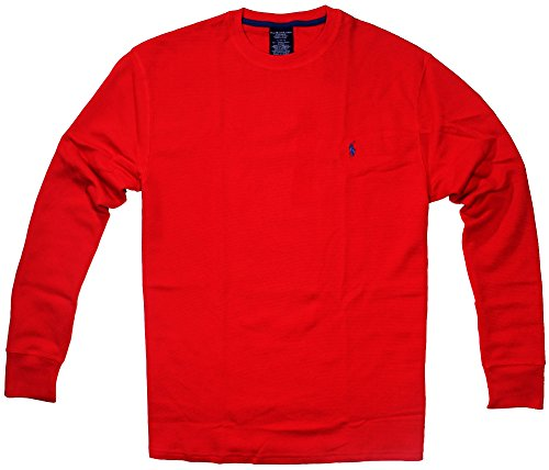 Polo Ralph Lauren Mens Long-sleeved T-shirt / Sleepwear (X-Large, Red/Navy Blue Pony) ()