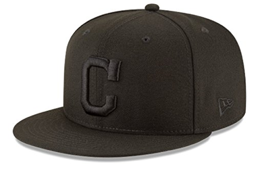 New Era Authentic Cleveland Indians C 9FIFTY Snapback Black On Black - OSFM ()