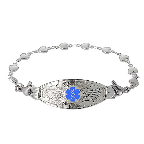 Divoti Custom Engraved Medical Alert Bracelets for Women, Stainless Steel Medical Bracelet, Medical ID Bracelet w/Free Engraving - Angel Wing Tag w/Heart Link-Light Blue-6.5