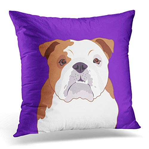 lilong Throw Pillow Covers Colorful Animal Bulldog The Buddy Dog Cartoon Decorative Pillow Case Home Decor Square 18W X 18L Pillowcase
