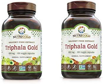 Nutrigold Triphala Gold Solvent-Free Extract Herbal Supplement for Healthy Vision, Digestion, Colon and Liver Detoxification 650 Milligrams Per Serving (120 Veggie Capsules) Pack of 2