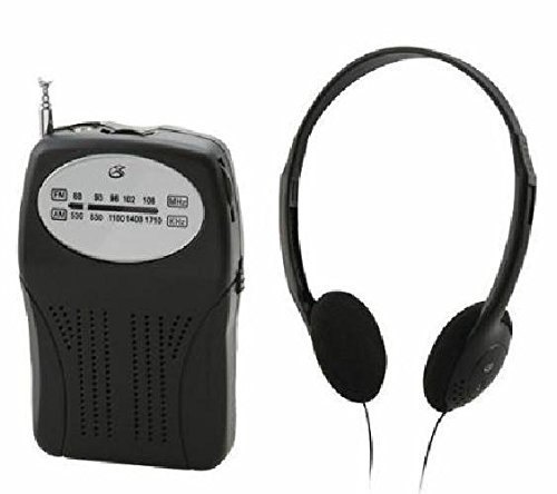 GPX R116B AM FM Portable Radio Black With Speaker and Headphones LOT OF TWO by GPX
