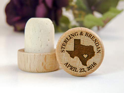 Laser Engraved Personalized Wood Wine Stoppers - Home State Series ()