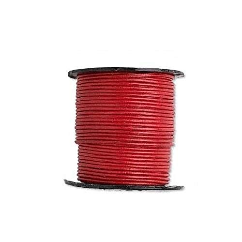 1 Yard 1mm Thick Red Round Genuine Goat Leather Bead Cord Cording for Beading
