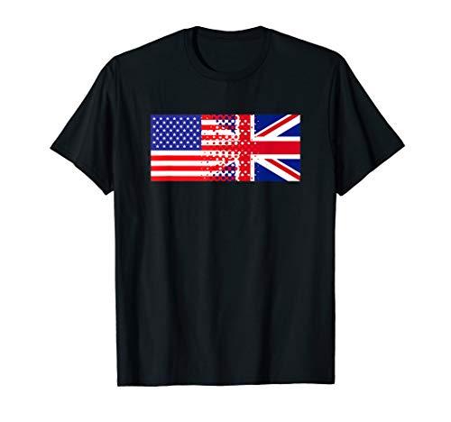 (British American Flag Shirt Half English Half American Tee )
