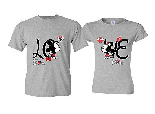 LO & VE Matching Shirts Couples - Disney Couple Shirts Him Her Gray Men M ()