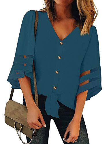 Roshop Womens Button Down V Neck Loose Sleeveless Strappy Cami Tank Tops Casual Shirts Blouses (L, Blue)