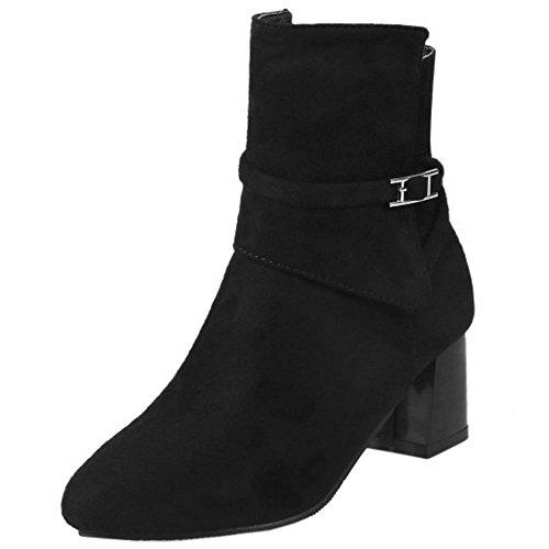 COOLCEPT Damen Freizeit Mit Blockabsatz Booties Zipper Ankle Stiefel Black