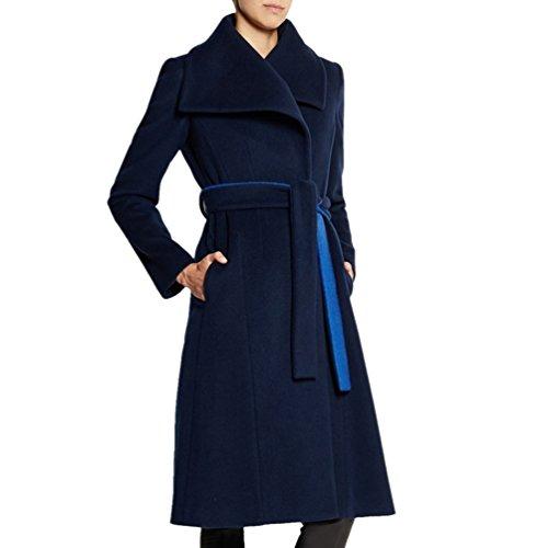 Di Di Lungo Lunghe Cappotti Femminile Moda Maniche Blu Qualità Cappotto Cappotto Cappotto Di Donna Blu Risvolto A Alta WanYang Giacca W5ZYpq8g0x