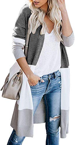 Euovmy Women's Long Sleeve Cardigans Open Front Draped Kimono Loose Cardigan