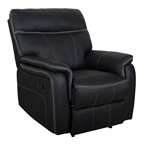 Padded Legrest (HomCom Modern PU Leather Living Room Recliner Lounger Sofa Chair - Black)