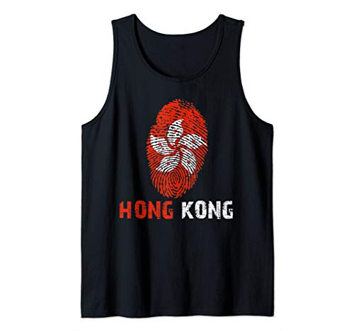 HONG KONG Finger Print Flag Tshirt I Love Travel Tee Tank Top