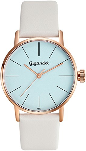 Gigandet Women's Quartz Watch Minimalism Analog Leather Strap Rose Gold White G43-013