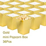 Gold Open-Top Popcorn Box Set of 36 Popcorn Favor Boxes Cardboard Candy Container Parties Mini Paper Popcorn Containers