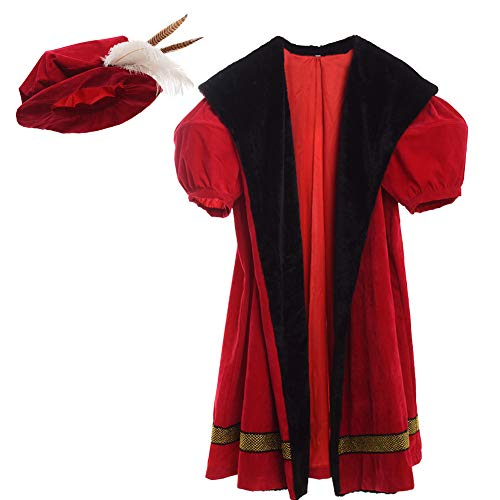 GRACERT Renaissance Men's King Henry VIII Costume with Hat Large Red]()