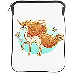 iPad 1 2 3 4 Air II Sleeve Case (2-Sided) Golden Sparkle Unicorn with Butterflies