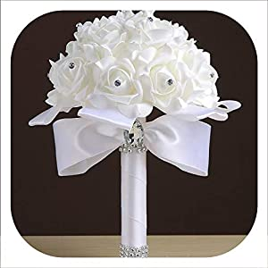 mamamoo Cheapest PE Rose Bridesmaid Wedding Foam Flowers Rose Bridal Bouquet Ribbon Fake Wedding 9 Color S30,White 12