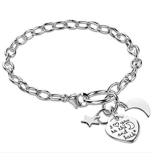 Stainless Steel Adjustable I Love You To The Moon and Back Bracelet with Heart Star Charm Mom (Star Charm Links)