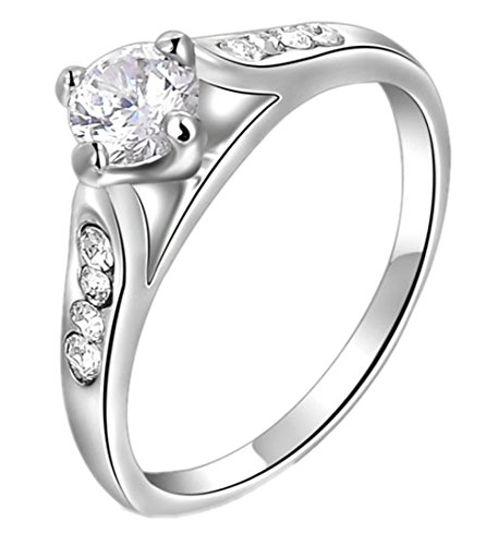 Jzoeoeu Selling European And American Jewelry Wholesale Jewelry Genuine Austrian Crystal Diamond Ring White Gold Four-Prong Oblique