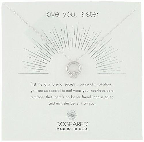 Dogeared Love You, Sister, Together Knot Charm Silver Chain Necklace, 16