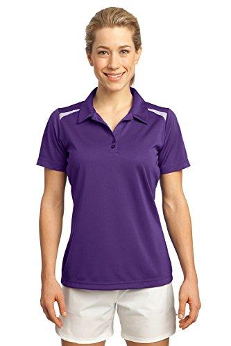 Sport-Tek Women's Vector Sport Wick Polo XXL Purple/White