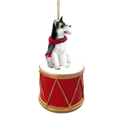 Little Drummer Siberian Husky Black-White Brown Eyes Christmas Ornament - Hand Painted - Delightful (White Husky Siberian Figurine)