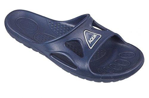 AQUA-SPEED® VENTO Zapatillas de ducha para Hombres (Tamaño: 40-48 Tallas grandes Zapatillas de ducha Suela de antideslizante Con Piscina Sea Holiday + UP®-Llavero) Farbe 10 / Blau
