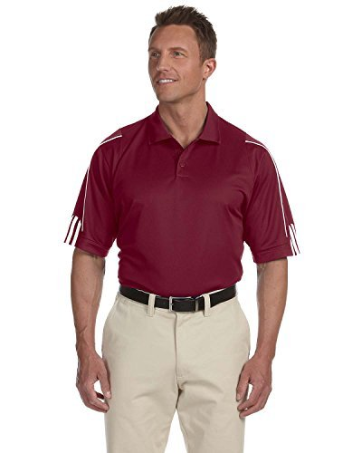 adidas Men's 3-Stripes Contrast Piping Polo Shirt, Cardinal/White, Small