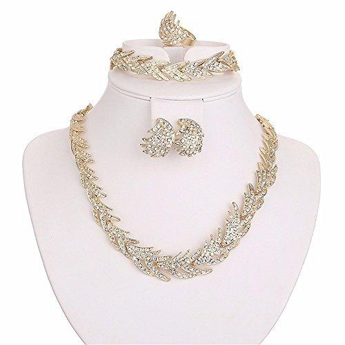 MOOCHI Gold Plated Shinning Wheat Ears Golden Necklace Earrings Bracelet Ring Jewelry Set
