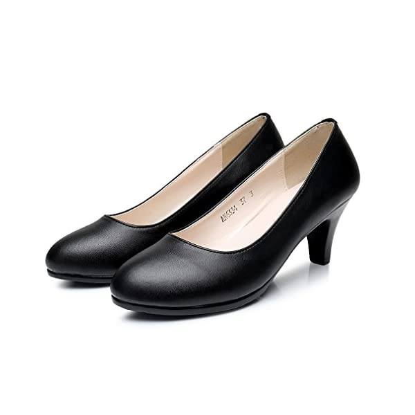 6877277750c7 mewow Women s Classic Black Comfy Leather Work Utility Office ...