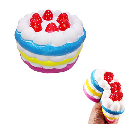 Squeeze Toys, Mochi Squishy Toy Kawaii Oversized Strawberry Cake Model, Slow Rebound Decompression Venting Toy Stress Relief Toys Hop Props Kneading Sensory Toys Gift for Kids Adults (Multicolor)]()