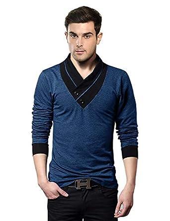 EYEBOGLER V-Neck Shawl Collar Stylish Men's Solid T-Shirt