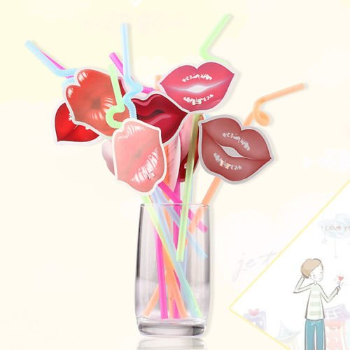 AMAZZANG-12 Styles Lip Drinking Juice Straw Wedding Cocktail Party Sucker Decoration Gift