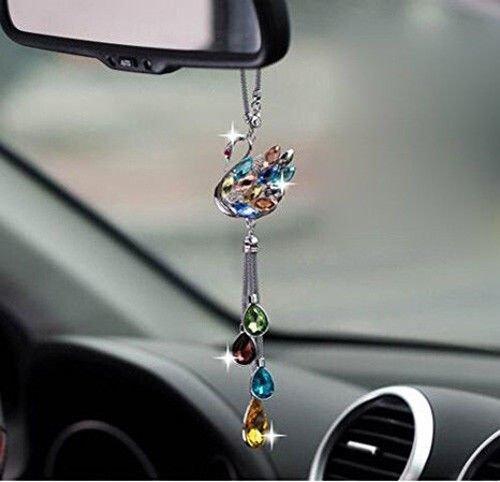 UZHOPM Beautiful Crystal Swan Car Pendant Auto Rearview Mirror Hanging Ornament Car Decor Accessories