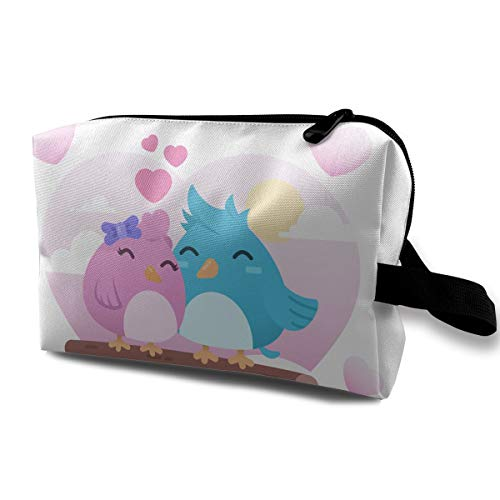 (LEIJGS Cartoon Two Cute Birds in Love Small Travel Toiletry Bag Super Light Toiletry Organizer for Overnight Trip)