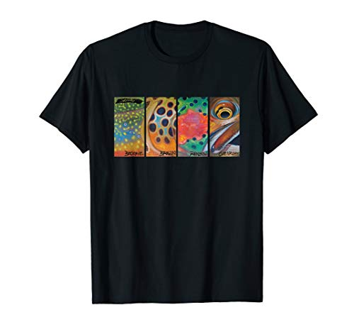 Cutthroat Rainbow Brook Brown Trout T-Shirt Derek DeYoung