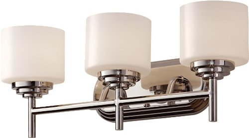 Feiss VS26003-PN Malibu Glass Wall Vanity Bath Lighting, Chrome, 3-Light (22