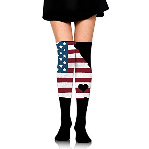 Indians Tall Team Flag - Women's Knee High Compression Thigh High Socks Georgia Love Home State US Flag For Softball Sport Long Stockings