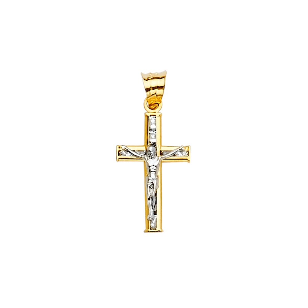 Wellingsale 14k Two 2 Tone White and Yellow Gold CZ Cubic Zirconia Crucifix Cross Religious Pendant Size : 21 x 10 mm