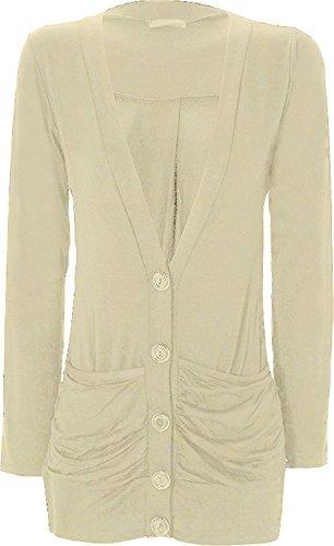 WearAll - Cardigan à manches longues - Hauts - Femmes - Crème - 40-42