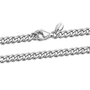 """925 Sterling Silver Necklace for Men - Flat Cuban Curb Chain 3.7 mm Thick - Length 20"""" inch / 50 cm"""