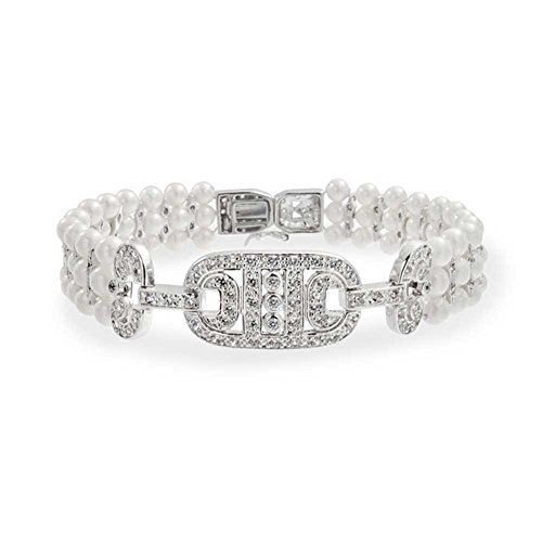 Simulated Pearl 3mm CZ Bridal Bracelet Rhodium Plated 6.75in ()